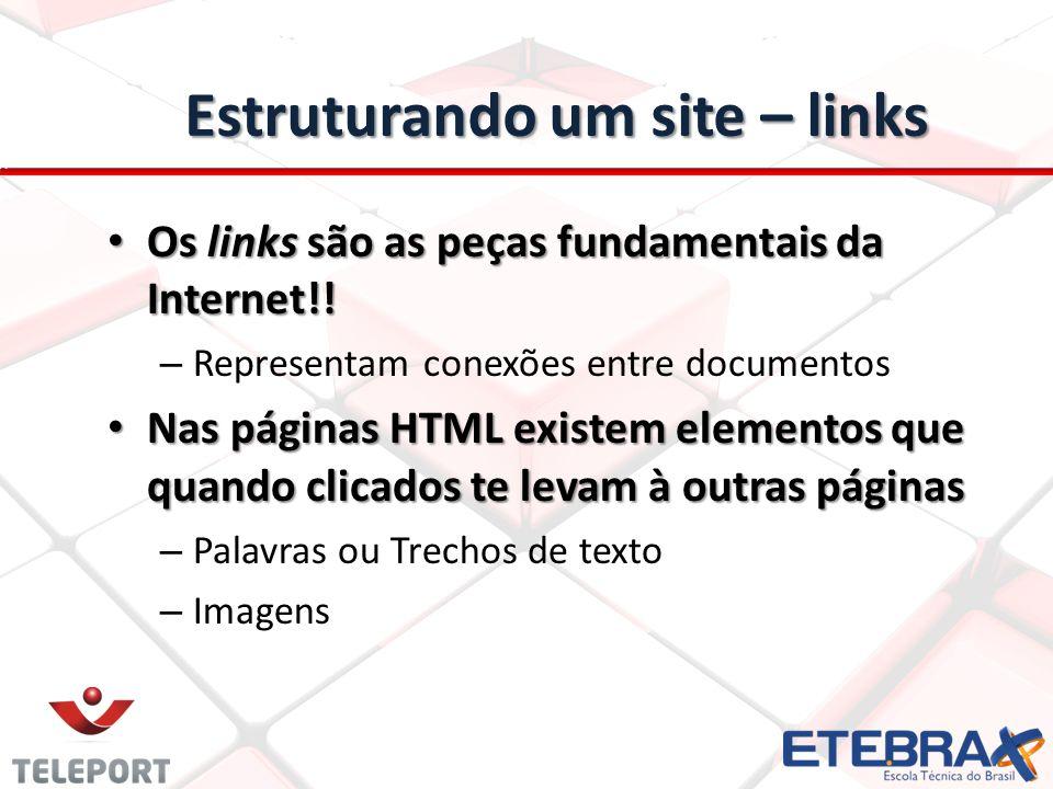 Estruturando um site – links Os links são as peças fundamentais da Internet!! Os links são as peças fundamentais da Internet!! – Representam conexões