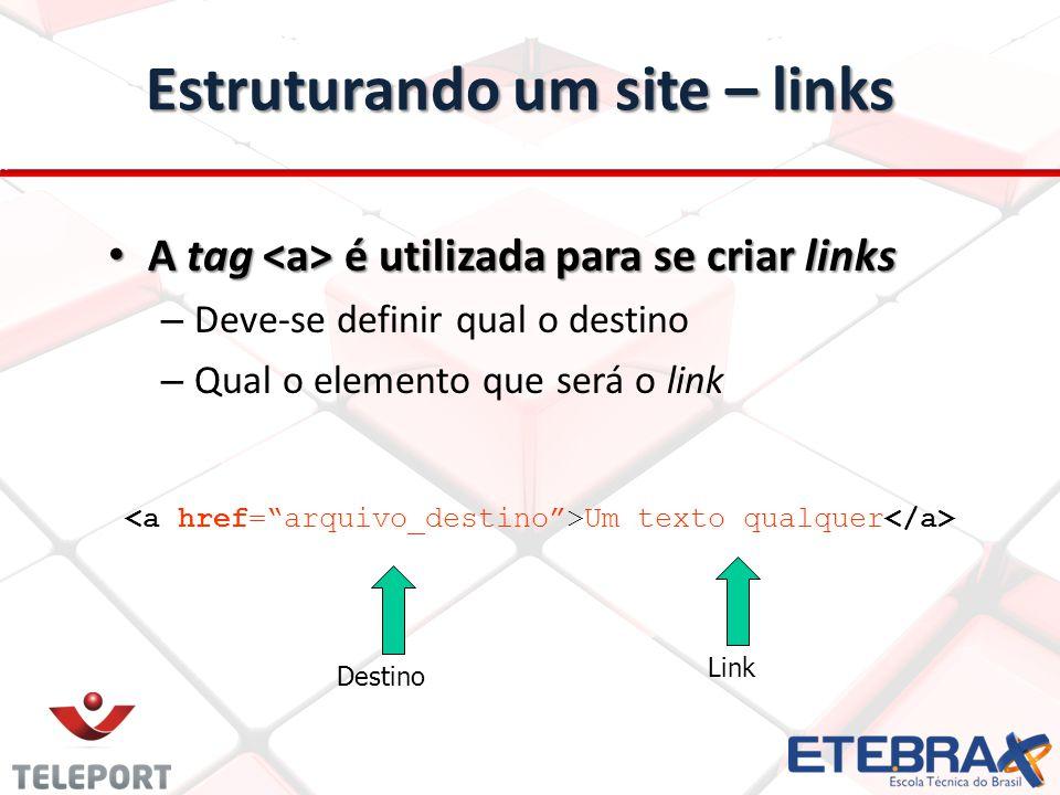 Estruturando um site – links A tag é utilizada para se criar links A tag é utilizada para se criar links – Deve-se definir qual o destino – Qual o ele