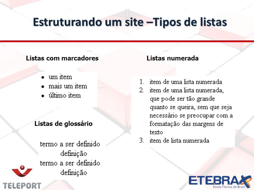 Estruturando um site –Tipos de listas Listas com marcadoresListas numerada Listas de glossário