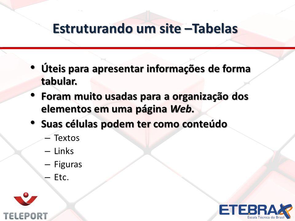 Estruturando um site –Tabelas Úteis para apresentar informações de forma tabular. Úteis para apresentar informações de forma tabular. Foram muito usad