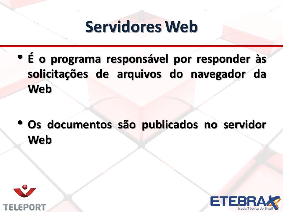 Servidores Web É o programa responsável por responder às solicitações de arquivos do navegador da Web É o programa responsável por responder às solici