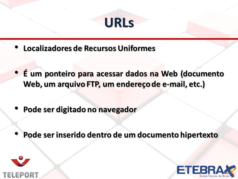 URLs Localizadores de Recursos Uniformes Localizadores de Recursos Uniformes É um ponteiro para acessar dados na Web (documento Web, um arquivo FTP, u