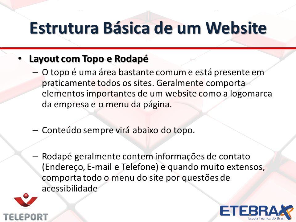 Estrutura Básica de um Website Layout com Topo e Rodapé Layout com Topo e Rodapé – O topo é uma área bastante comum e está presente em praticamente to