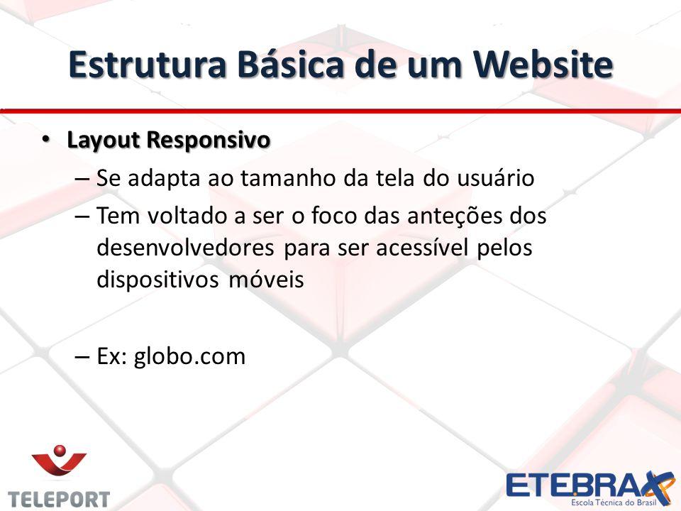 Estrutura Básica de um Website Layout Responsivo Layout Responsivo – Se adapta ao tamanho da tela do usuário – Tem voltado a ser o foco das anteções d