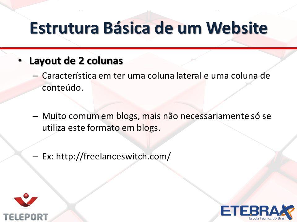 Estrutura Básica de um Website Layout de 2 colunas Layout de 2 colunas – Característica em ter uma coluna lateral e uma coluna de conteúdo. – Muito co