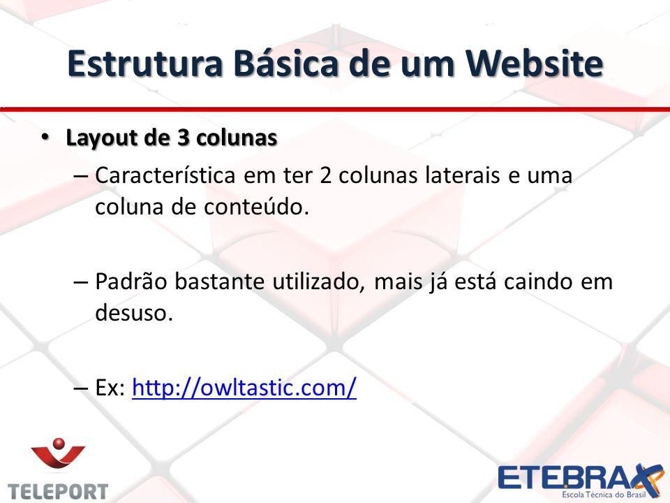 Estrutura Básica de um Website Layout de 3 colunas Layout de 3 colunas – Característica em ter 2 colunas laterais e uma coluna de conteúdo. – Padrão b