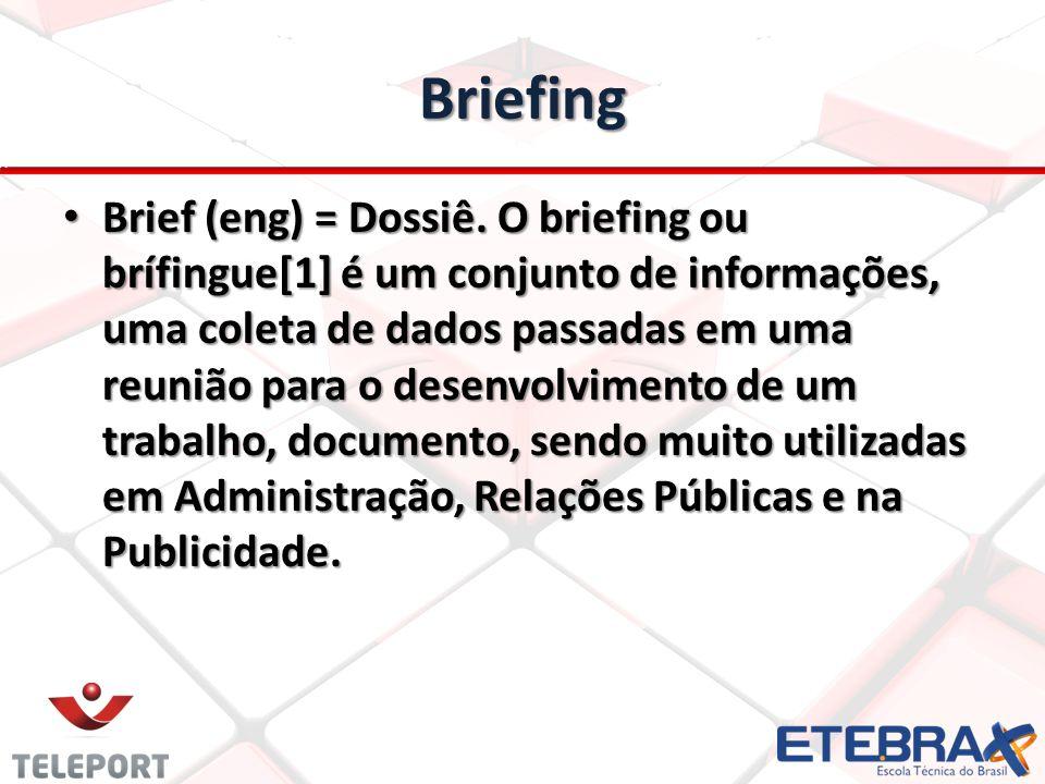 Briefing Brief (eng) = Dossiê. O briefing ou brífingue[1] é um conjunto de informações, uma coleta de dados passadas em uma reunião para o desenvolvim