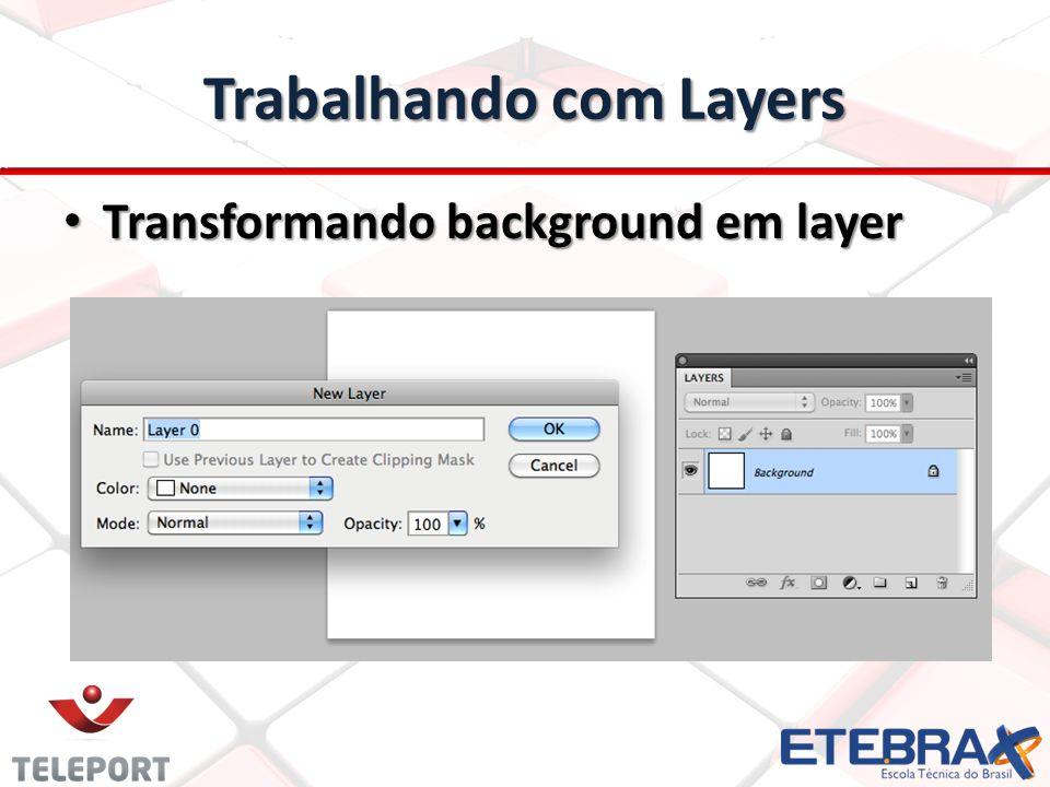 Trabalhando com Layers Transformando background em layer Transformando background em layer