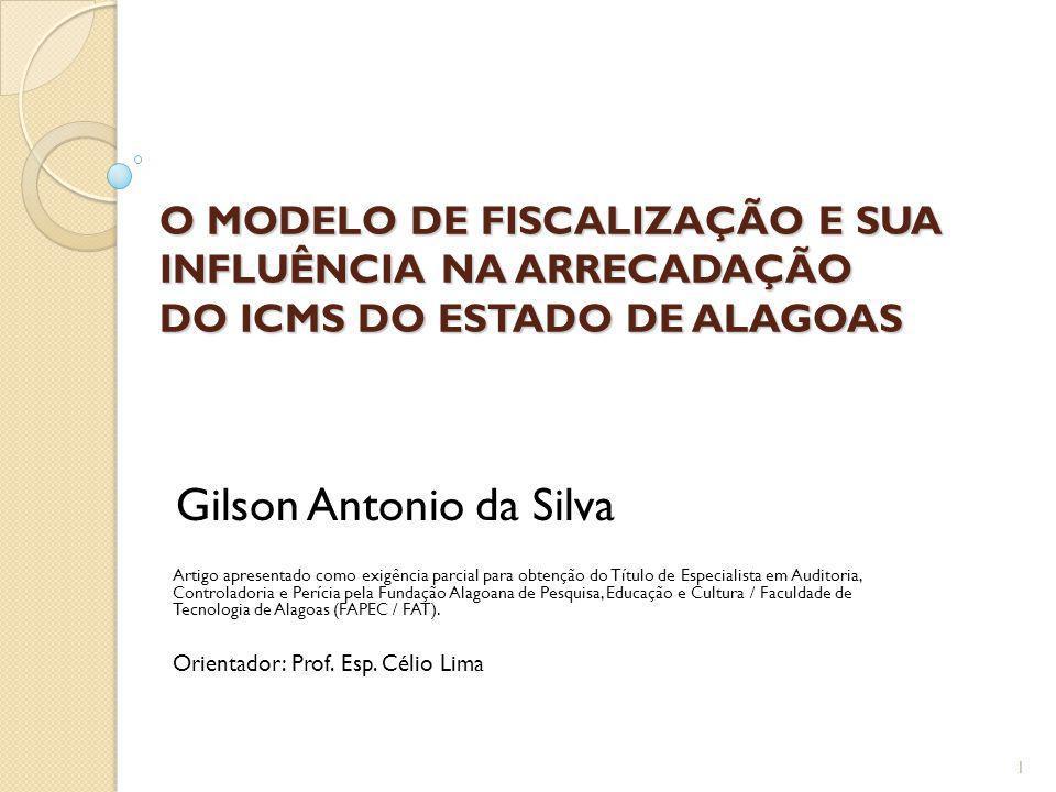 O MODELO DE FISCALIZAÇÃO E SUA INFLUÊNCIA NA ARRECADAÇÃO DO ICMS DO ESTADO DE ALAGOAS Gilson Antonio da Silva Artigo apresentado como exigência parcia