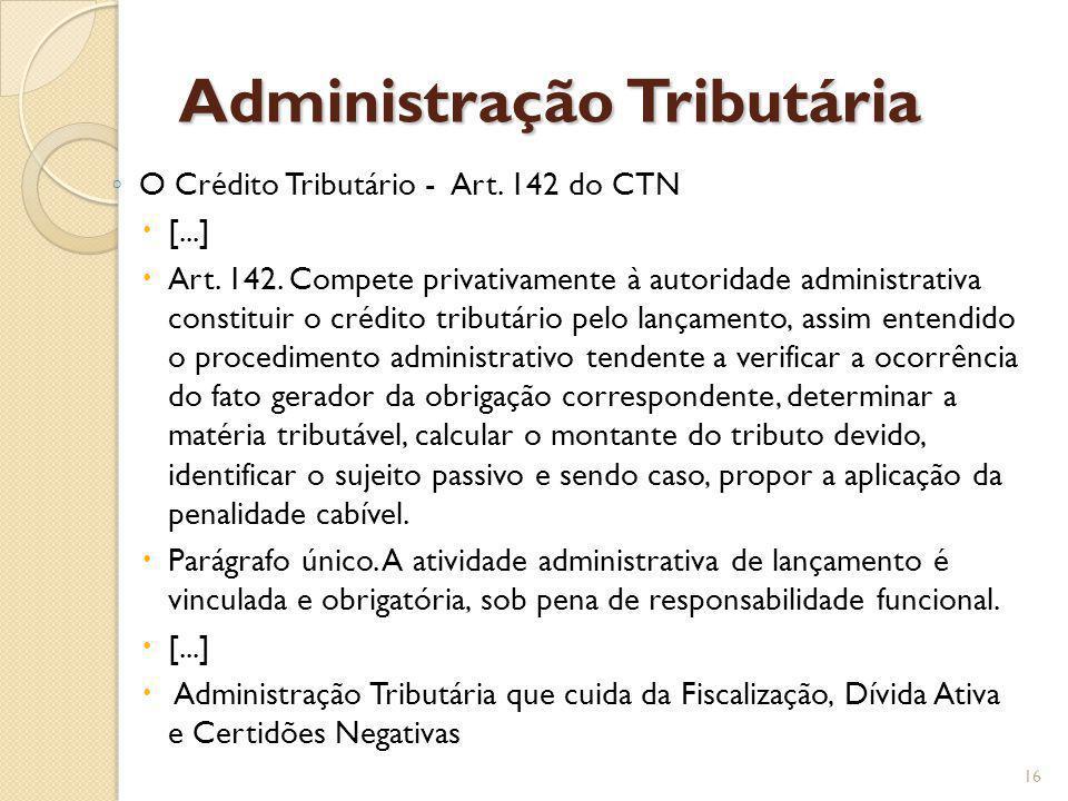 Administração Tributária O Crédito Tributário - Art. 142 do CTN [...] Art. 142. Compete privativamente à autoridade administrativa constituir o crédit