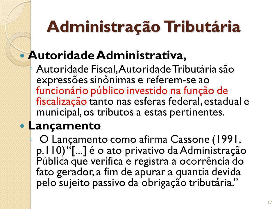 Administração Tributária Autoridade Administrativa, Autoridade Fiscal, Autoridade Tributária são expressões sinônimas e referem-se ao funcionário públ