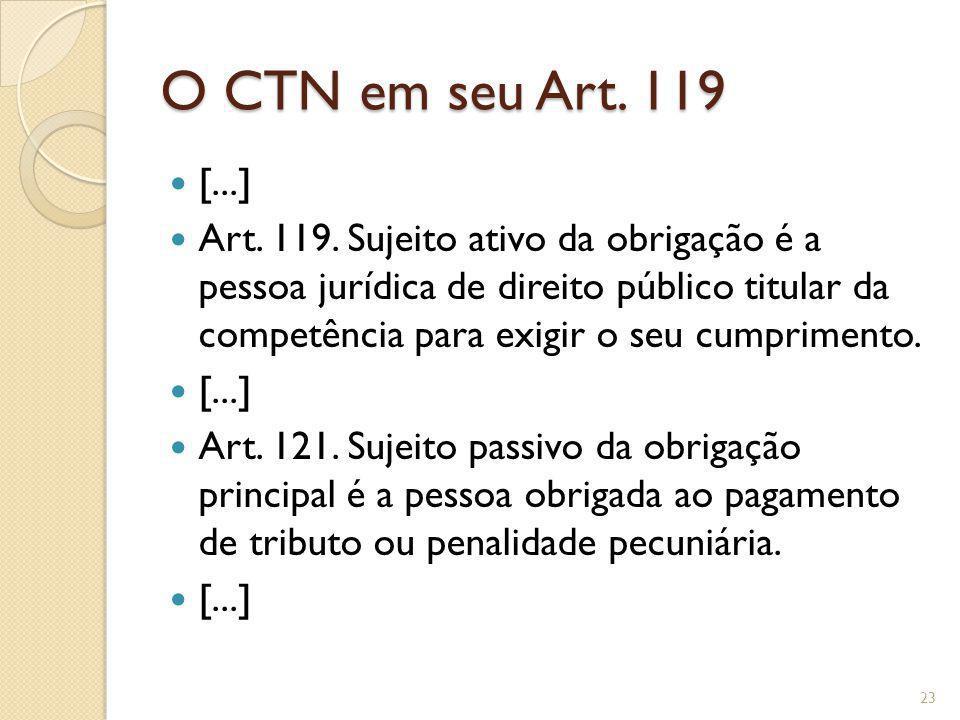 O CTN em seu Art. 119 [...] Art. 119. Sujeito ativo da obrigação é a pessoa jurídica de direito público titular da competência para exigir o seu cumpr