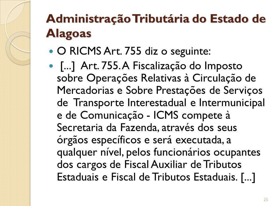 Administração Tributária do Estado de Alagoas O RICMS Art. 755 diz o seguinte: [...] Art. 755. A Fiscalização do Imposto sobre Operações Relativas à C