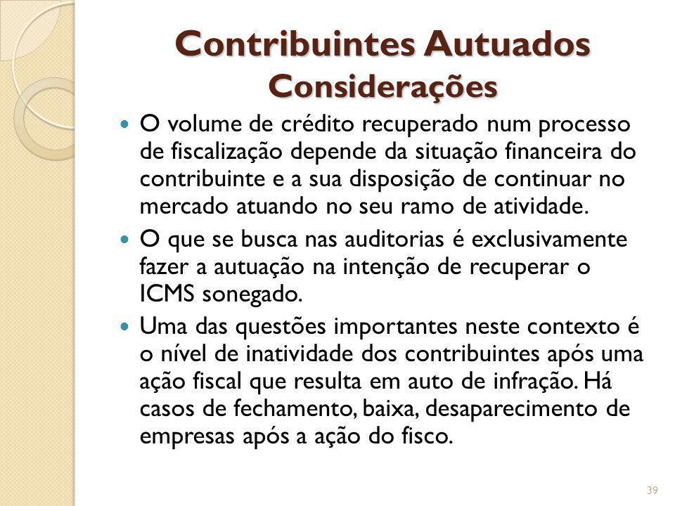 Contribuintes Autuados Considerações O volume de crédito recuperado num processo de fiscalização depende da situação financeira do contribuinte e a su
