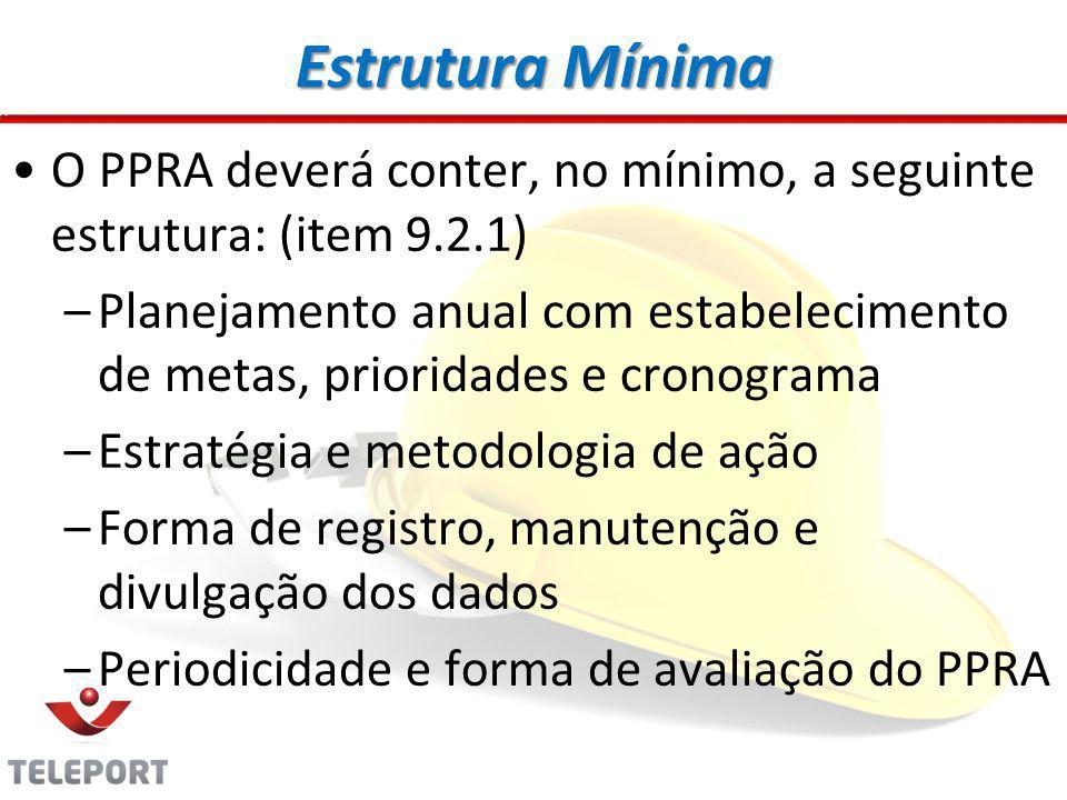 Estrutura Mínima O PPRA deverá conter, no mínimo, a seguinte estrutura: (item 9.2.1) –Planejamento anual com estabelecimento de metas, prioridades e cronograma –Estratégia e metodologia de ação –Forma de registro, manutenção e divulgação dos dados –Periodicidade e forma de avaliação do PPRA