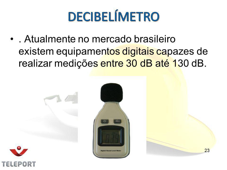 . Atualmente no mercado brasileiro existem equipamentos digitais capazes de realizar medições entre 30 dB até 130 dB. 23