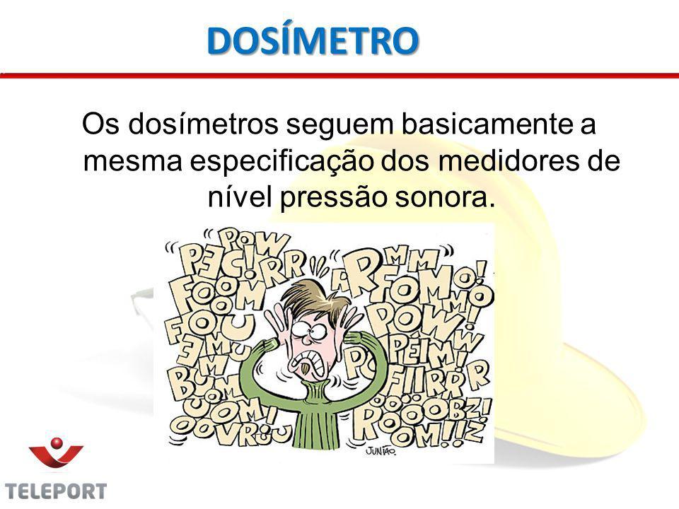 Os dosímetros seguem basicamente a mesma especificação dos medidores de nível pressão sonora.