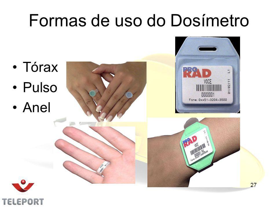 Formas de uso do Dosímetro Tórax Pulso Anel 27