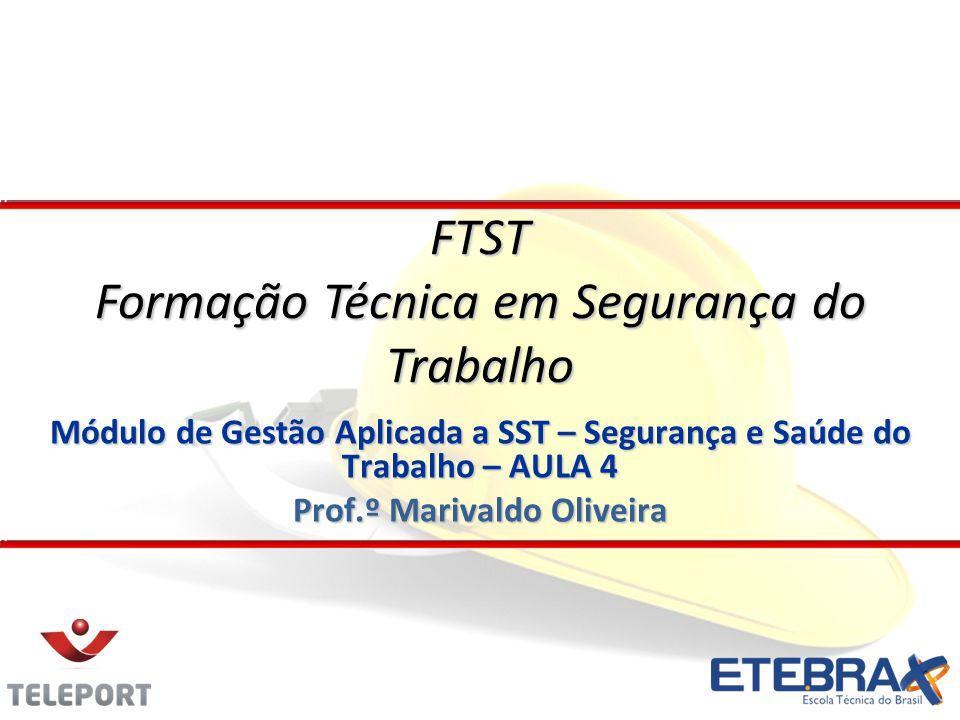 Módulo de Gestão Aplicada a SST – Segurança e Saúde do Trabalho – AULA 4 Prof.º Marivaldo Oliveira FTST Formação Técnica em Segurança do Trabalho