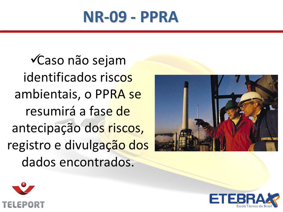 Caso não sejam identificados riscos ambientais, o PPRA se resumirá a fase de antecipação dos riscos, registro e divulgação dos dados encontrados. NR-0