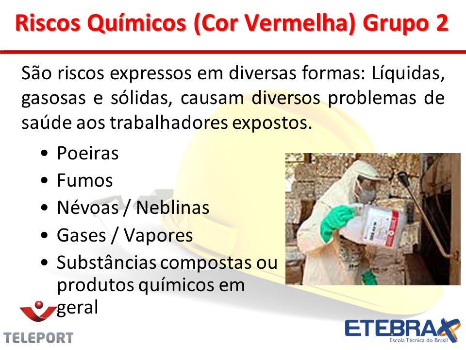 Riscos Químicos (Cor Vermelha) Grupo 2 Poeiras Fumos Névoas / Neblinas Gases / Vapores Substâncias compostas ou produtos químicos em geral São riscos