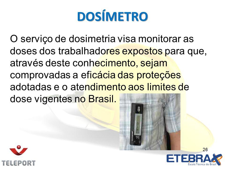 DOSÍMETRO O serviço de dosimetria visa monitorar as doses dos trabalhadores expostos para que, através deste conhecimento, sejam comprovadas a eficáci