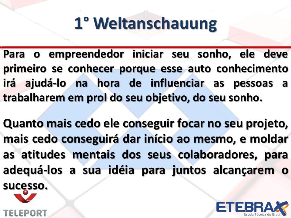 1° Weltanschauung Para o empreendedor iniciar seu sonho, ele deve primeiro se conhecer porque esse auto conhecimento irá ajudá-lo na hora de influenciar as pessoas a trabalharem em prol do seu objetivo, do seu sonho.