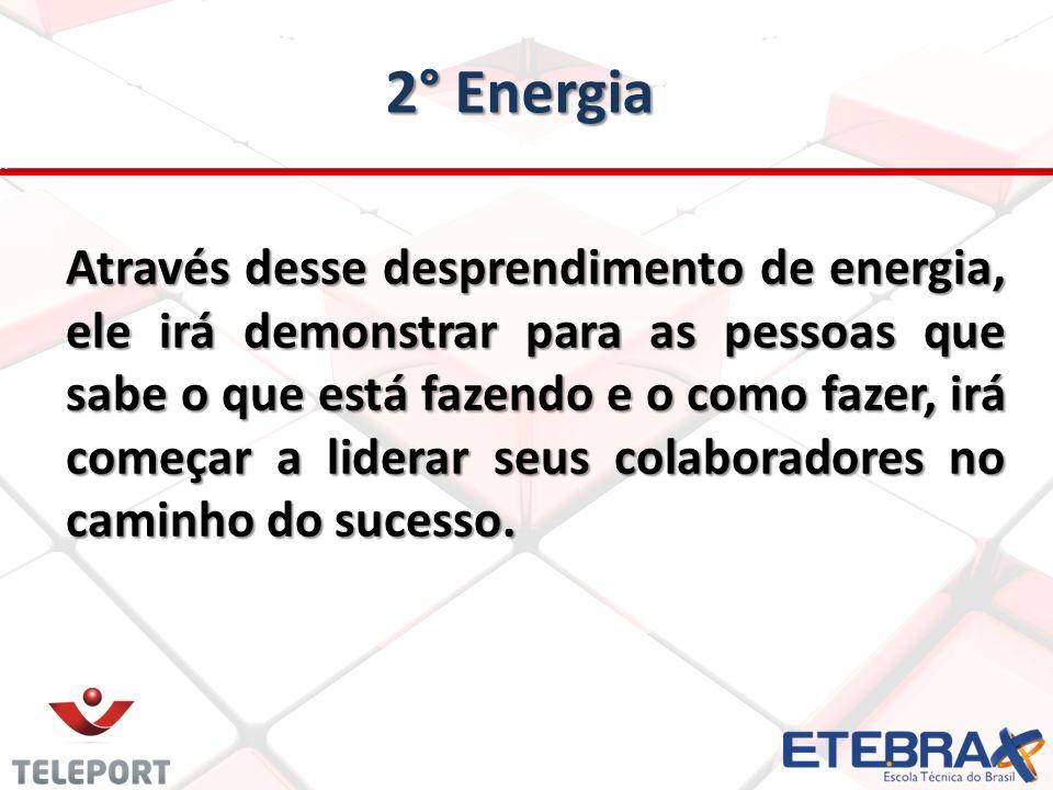 2° Energia Através desse desprendimento de energia, ele irá demonstrar para as pessoas que sabe o que está fazendo e o como fazer, irá começar a liderar seus colaboradores no caminho do sucesso.