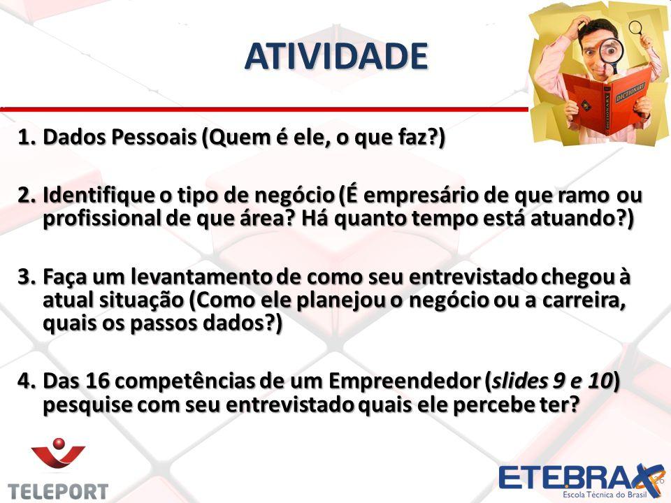 ATIVIDADE ATIVIDADE 26 1.Dados Pessoais (Quem é ele, o que faz?) 2.Identifique o tipo de negócio (É empresário de que ramo ou profissional de que área.