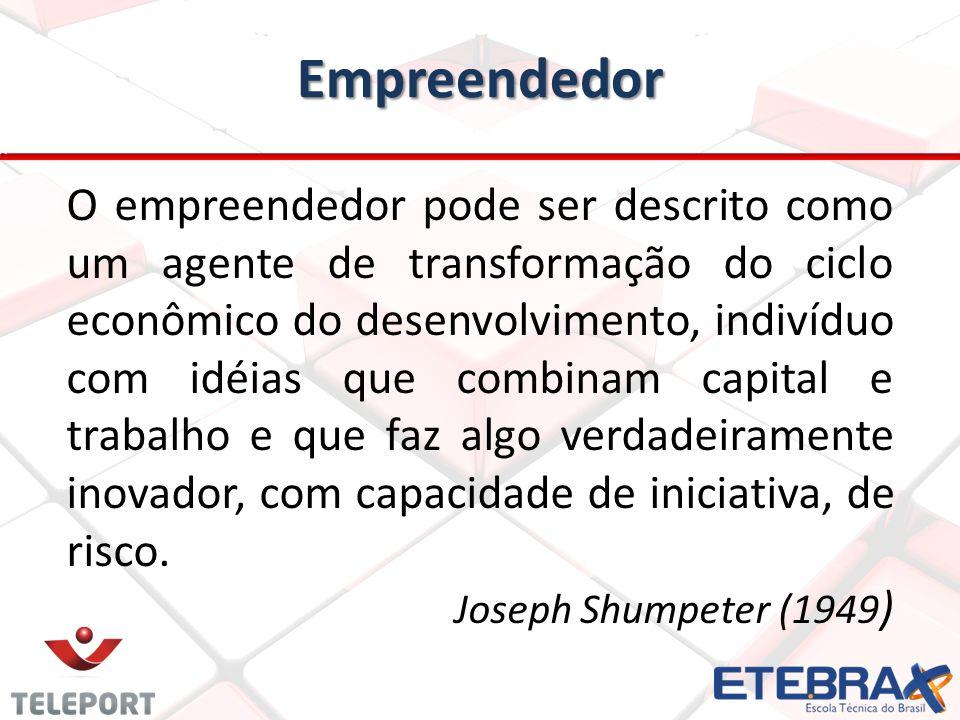 Empreendedor O empreendedor pode ser descrito como um agente de transformação do ciclo econômico do desenvolvimento, indivíduo com idéias que combinam capital e trabalho e que faz algo verdadeiramente inovador, com capacidade de iniciativa, de risco.