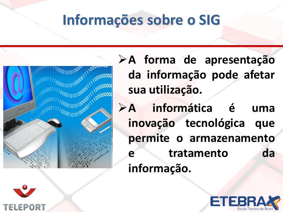A forma de apresentação da informação pode afetar sua utilização. A informática é uma inovação tecnológica que permite o armazenamento e tratamento da
