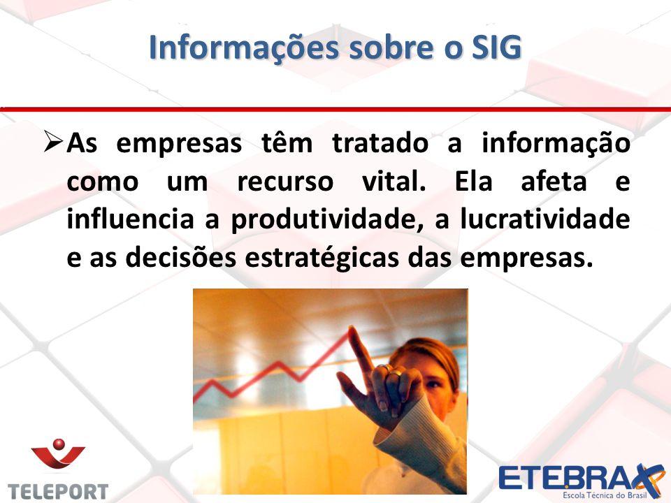 As empresas têm tratado a informação como um recurso vital. Ela afeta e influencia a produtividade, a lucratividade e as decisões estratégicas das emp