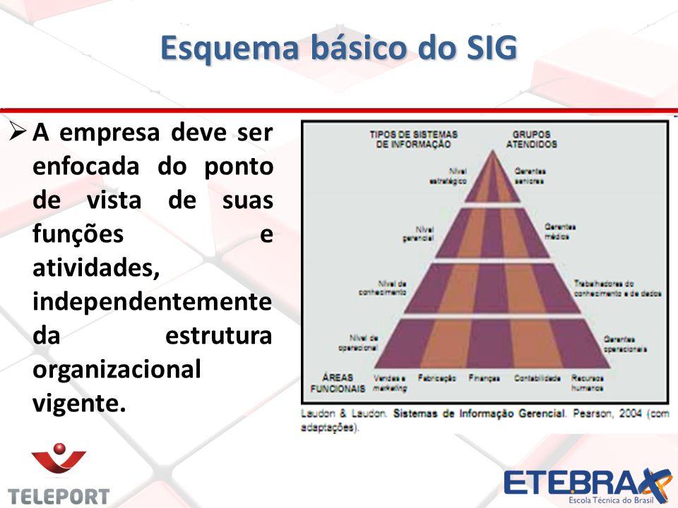 A empresa deve ser enfocada do ponto de vista de suas funções e atividades, independentemente da estrutura organizacional vigente. Esquema básico do S