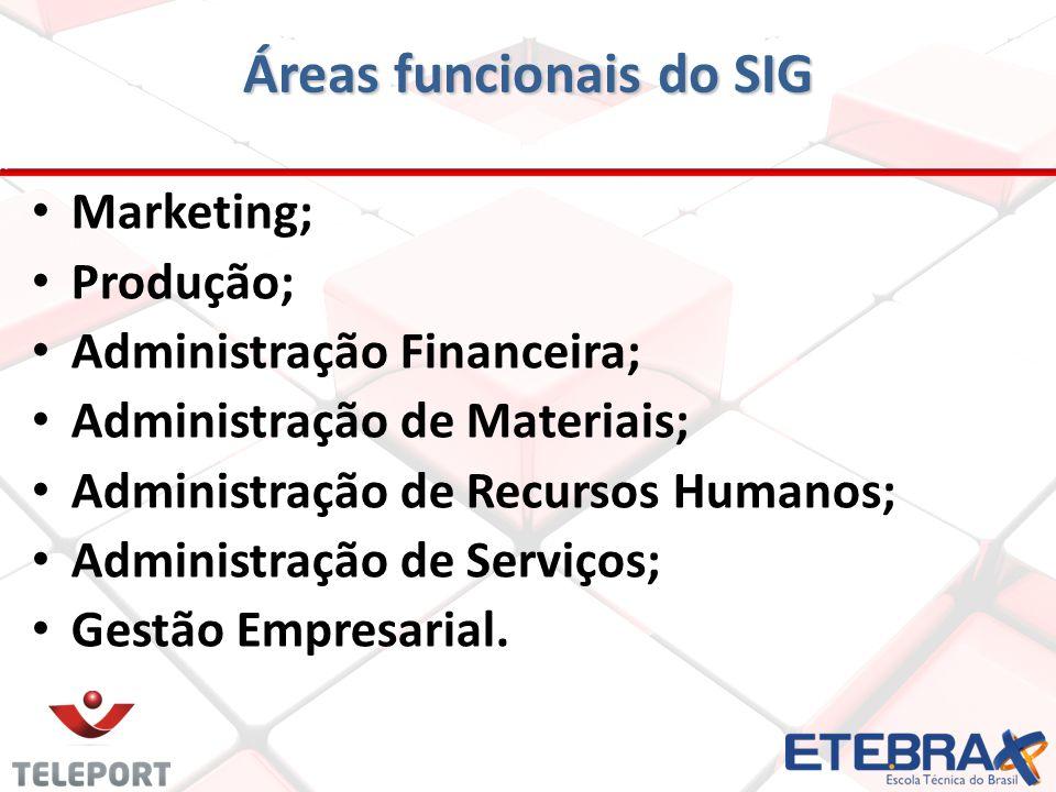 Áreas funcionais do SIG Marketing; Produção; Administração Financeira; Administração de Materiais; Administração de Recursos Humanos; Administração de