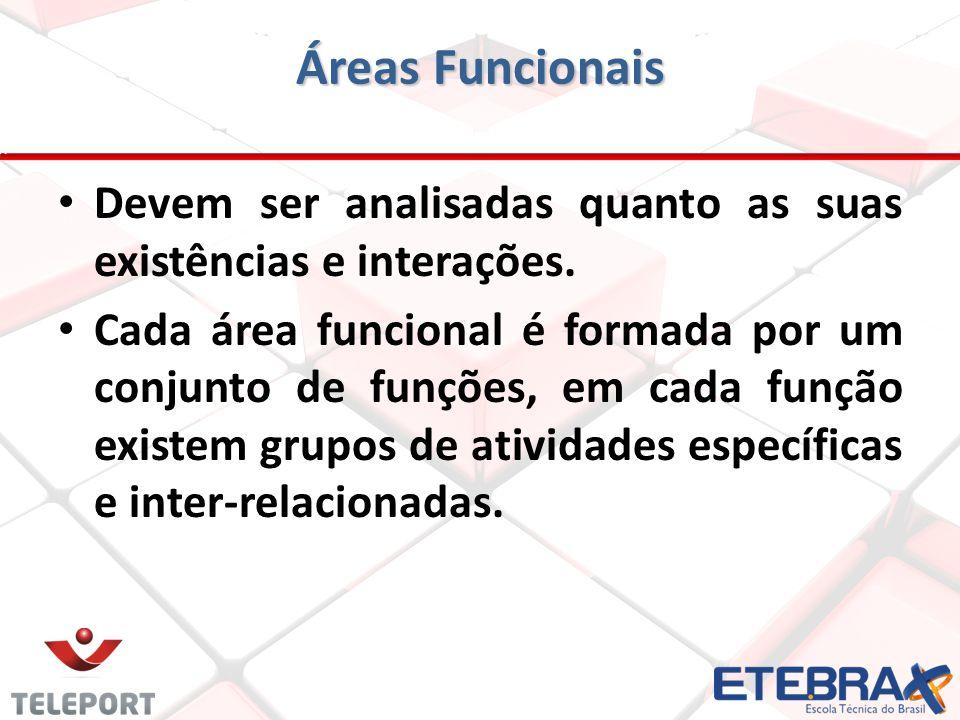 Áreas Funcionais Devem ser analisadas quanto as suas existências e interações. Cada área funcional é formada por um conjunto de funções, em cada funçã