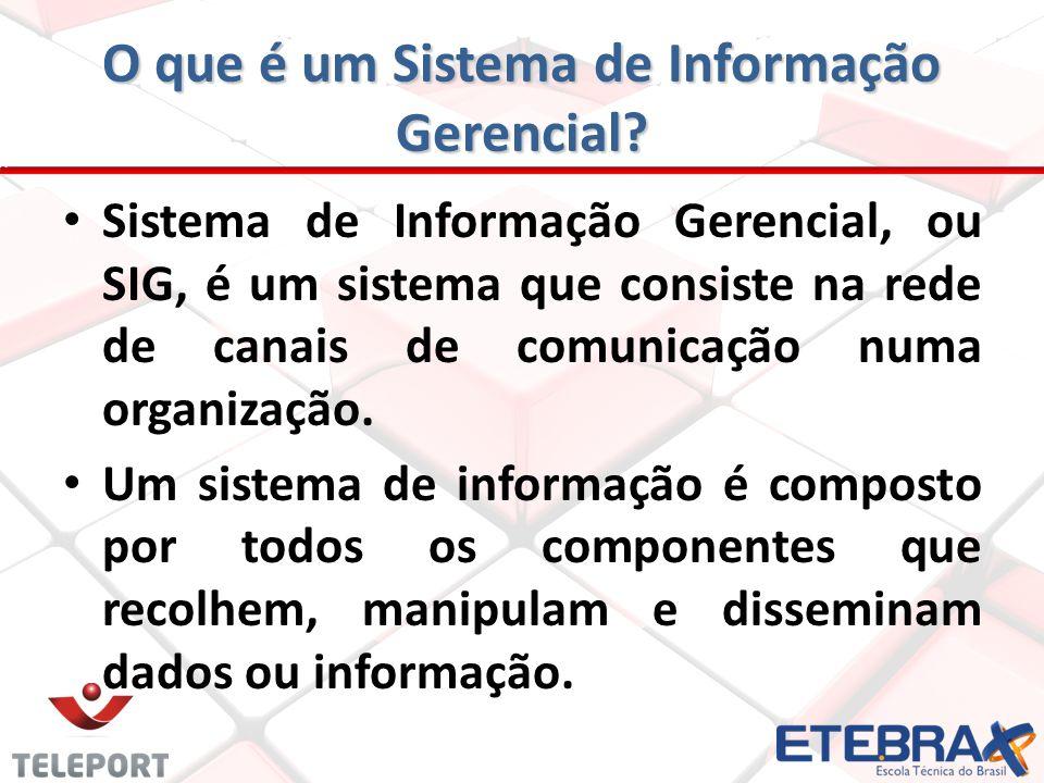 O que é um Sistema de Informação Gerencial? Sistema de Informação Gerencial, ou SIG, é um sistema que consiste na rede de canais de comunicação numa o