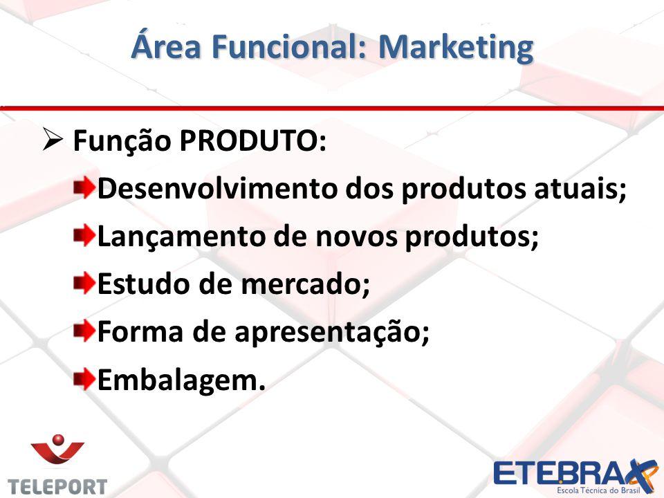 Área Funcional: Marketing Função PRODUTO: Desenvolvimento dos produtos atuais; Lançamento de novos produtos; Estudo de mercado; Forma de apresentação;