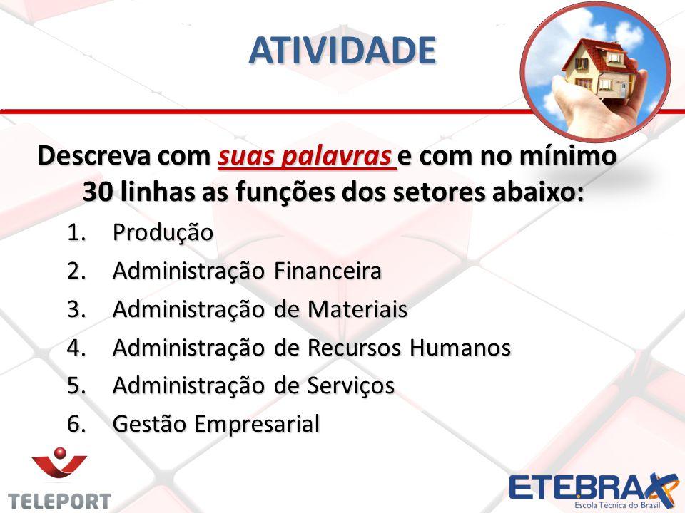 ATIVIDADE Descreva com suas palavras e com no mínimo 30 linhas as funções dos setores abaixo: 1.Produção 2.Administração Financeira 3.Administração de