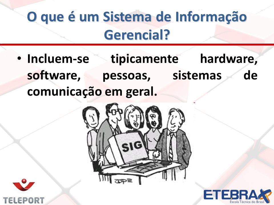 Incluem-se tipicamente hardware, software, pessoas, sistemas de comunicação em geral.