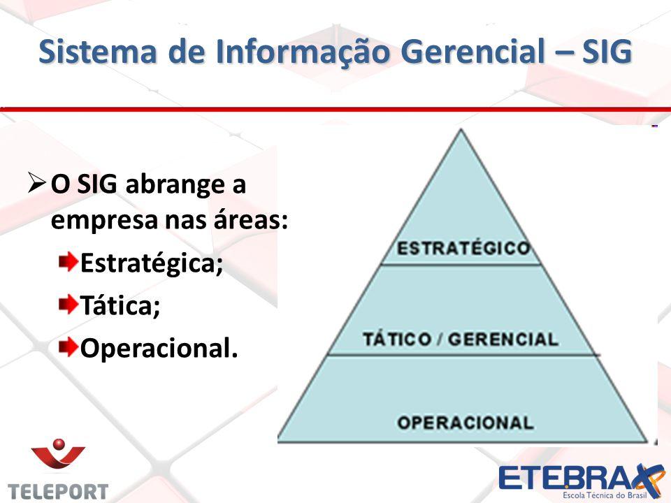 Sistema de Informação Gerencial – SIG O SIG abrange a empresa nas áreas: Estratégica; Tática; Operacional.