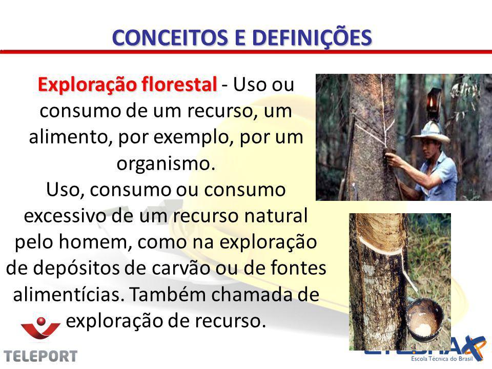 CONCEITOS E DEFINIÇÕES Exploração florestal Exploração florestal - Uso ou consumo de um recurso, um alimento, por exemplo, por um organismo. Uso, cons