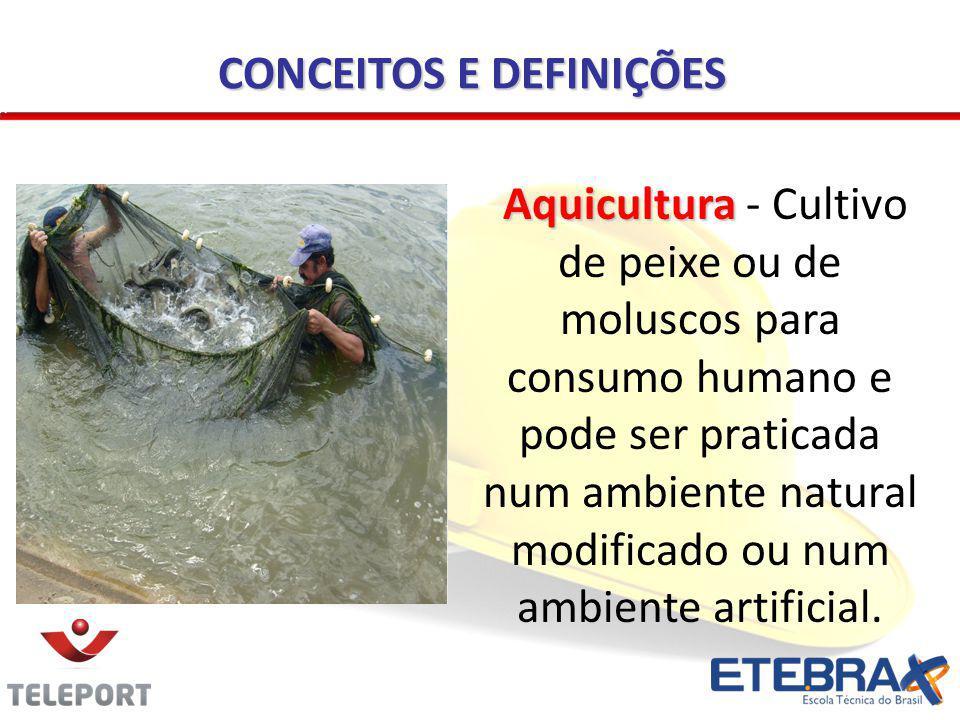 CONCEITOS E DEFINIÇÕES Aquicultura Aquicultura - Cultivo de peixe ou de moluscos para consumo humano e pode ser praticada num ambiente natural modific