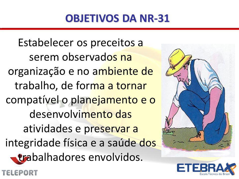 OBJETIVOS DA NR-31 Estabelecer os preceitos a serem observados na organização e no ambiente de trabalho, de forma a tornar compatível o planejamento e