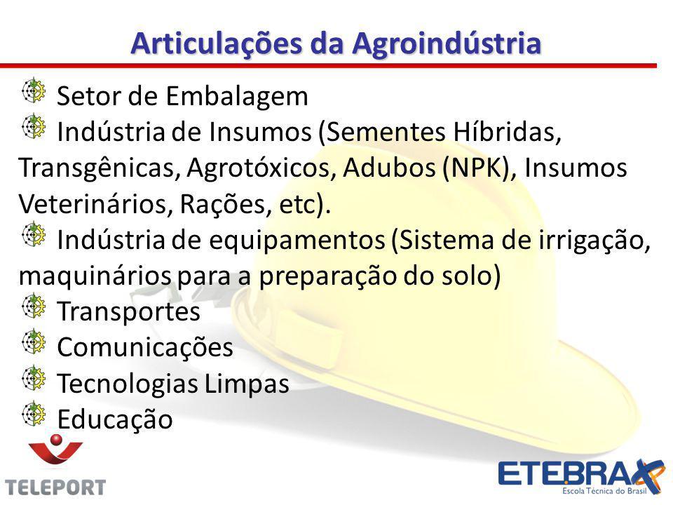Articulações da Agroindústria Setor de Embalagem Indústria de Insumos (Sementes Híbridas, Transgênicas, Agrotóxicos, Adubos (NPK), Insumos Veterinário
