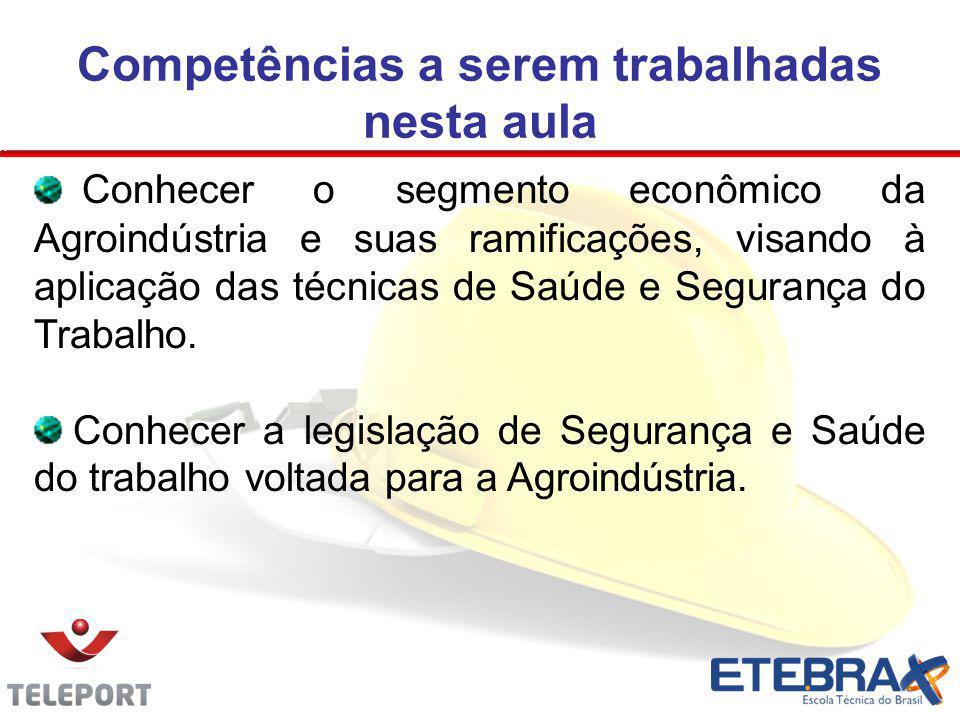 Competências a serem trabalhadas nesta aula Conhecer o segmento econômico da Agroindústria e suas ramificações, visando à aplicação das técnicas de Sa