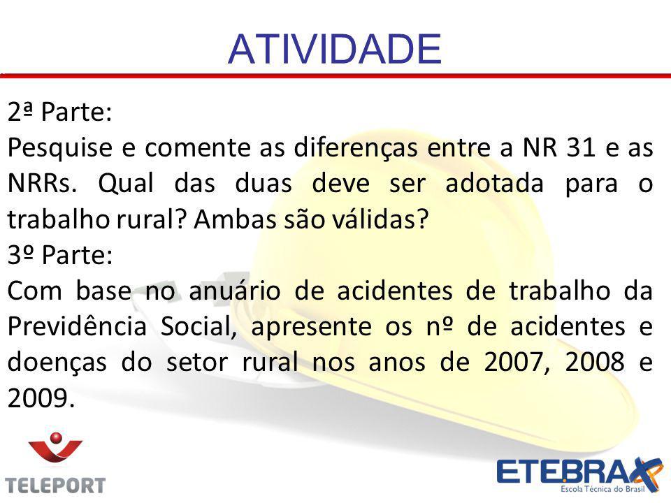 ATIVIDADE 2ª Parte: Pesquise e comente as diferenças entre a NR 31 e as NRRs. Qual das duas deve ser adotada para o trabalho rural? Ambas são válidas?