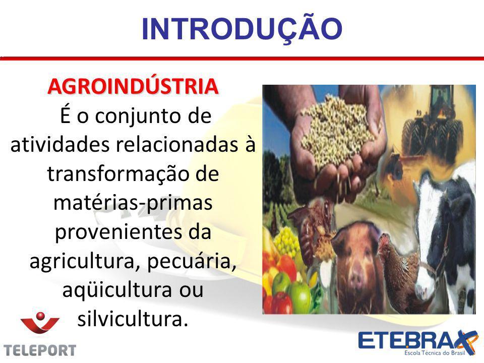 INTRODUÇÃO AGROINDÚSTRIA É o conjunto de atividades relacionadas à transformação de matérias-primas provenientes da agricultura, pecuária, aqüicultura