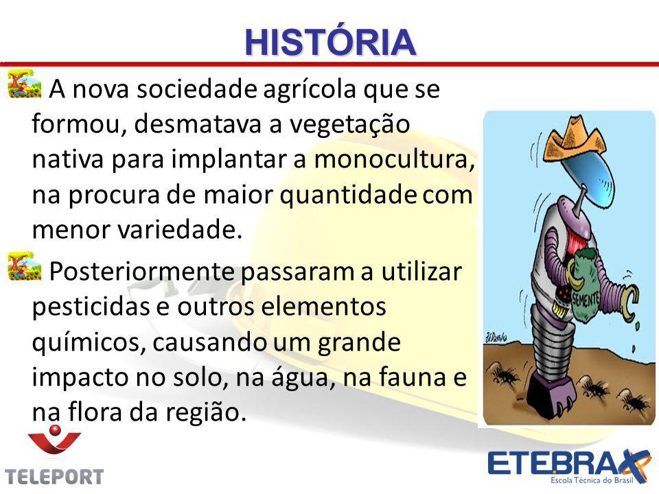 HISTÓRIA A nova sociedade agrícola que se formou, desmatava a vegetação nativa para implantar a monocultura, na procura de maior quantidade com menor