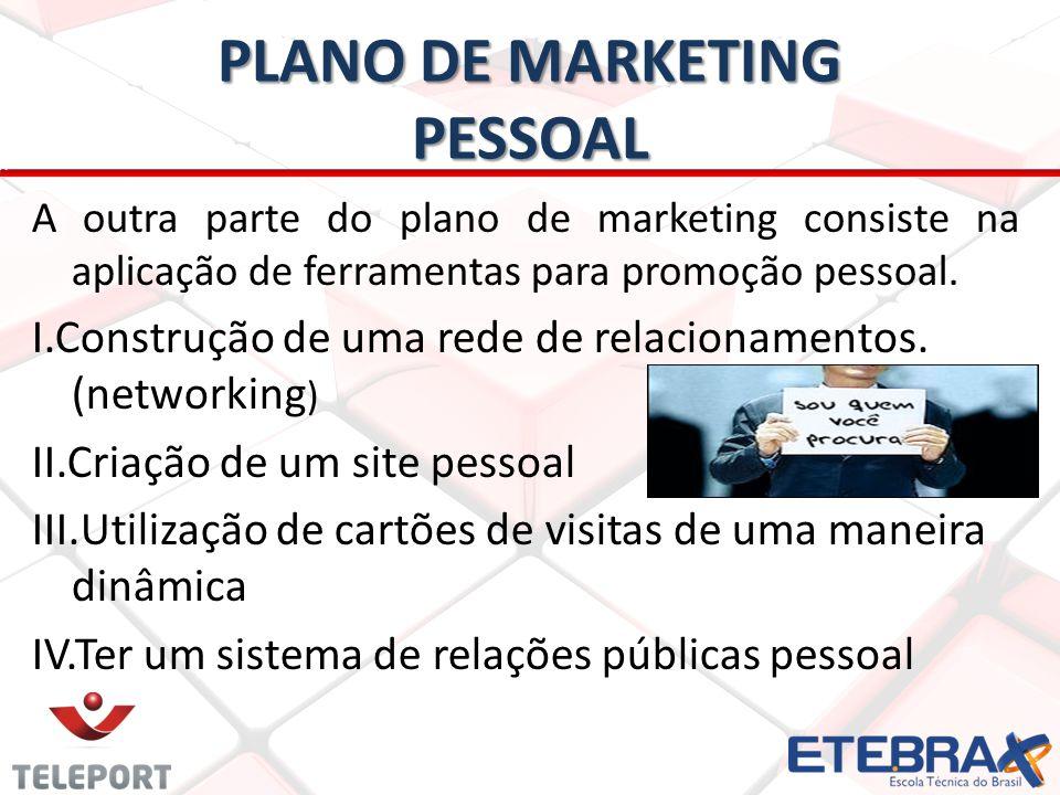 PLANO DE MARKETING PESSOAL A outra parte do plano de marketing consiste na aplicação de ferramentas para promoção pessoal. I.Construção de uma rede de