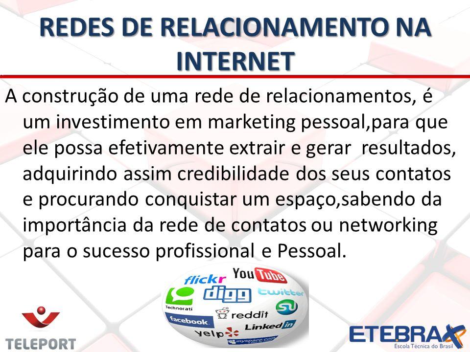 REDES DE RELACIONAMENTO NA INTERNET A construção de uma rede de relacionamentos, é um investimento em marketing pessoal,para que ele possa efetivament